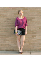 maroon Urban Outfitters blouse - black Express shorts - Steve Madden wedges