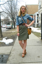 brown Kitson bag - navy chambray pitaya shirt - brown Urban Outfitters belt