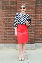 white Langford Market blouse - black asos bag - beige Guess pumps