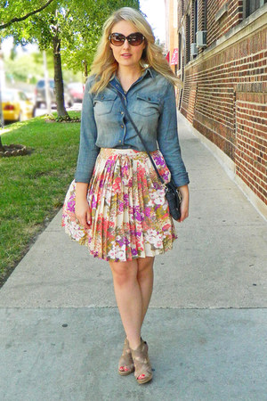 denim pitaya shirt - Jenna Kator purse - modcloth skirt - Aldo wedges