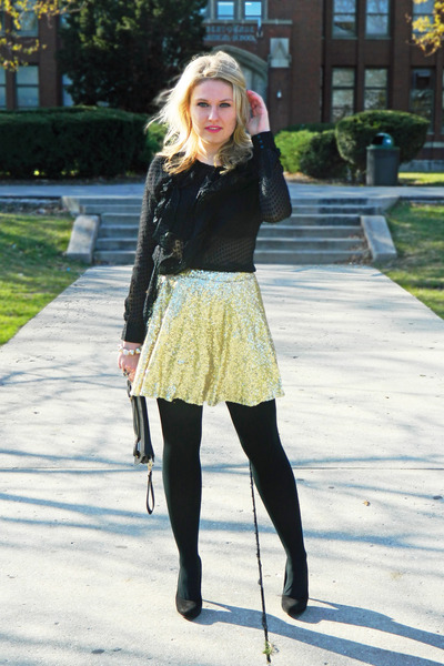 gold gold sequin asos skirt - black clutch asos bag