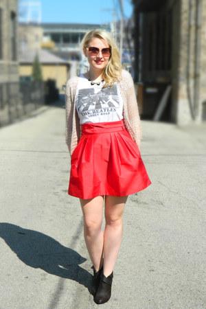asos skirt - Steve Madden sunglasses - Forever 21 t-shirt - Topshop cardigan