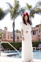 white Zara dress - hot pink DIY Rose Crown accessories