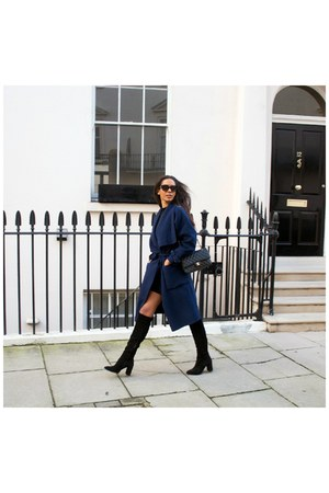 Zara coat - Zara boots - Miss Selfridge dress - Chanel bag - asos glasses