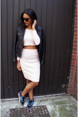 Missguided skirt - The Kooples jacket - asos sunglasses - nike sneakers