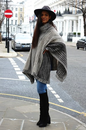 Zara boots - River Island jeans - asos hat - Wallis cape
