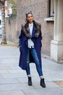 Black-h-m-boots-blue-zara-coat-blue-hollister-jeans