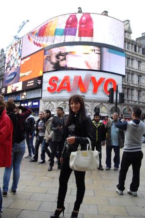 black jacket - Dorothy Perkins jeans - white blouse - Zara shoes - white bag