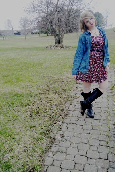 navy jean Walmart jacket - black tall unknown boots