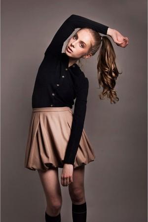 camel skirt - navy blazer