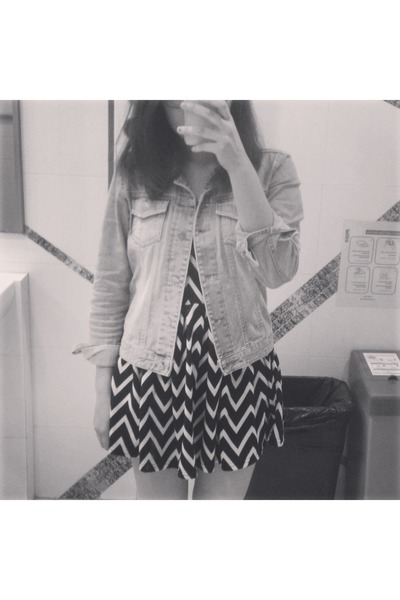 dress - denim jacket