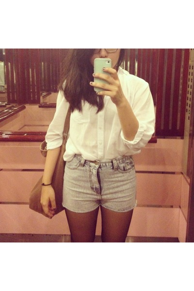 baggu bag - denim shorts - billowy Bershka blouse