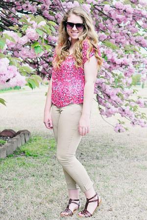 American Eagle sunglasses - tan skinny H&M pants - floral print Target blouse