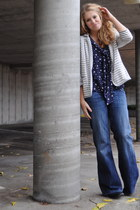 striped cotton Target blazer - Old Navy boots - wide leg jeans It jeans