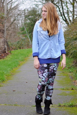 floral H&M leggings - black Old Navy boots - blue knit H&M sweater
