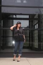 Old Navy jeans - vintage blouse - Express top - sigerson morrison for target sho