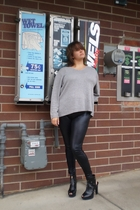 Secondhand sweater - Express pants - alice  olivia for Payless shoes