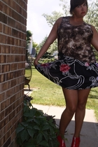 Secondhand top - Target skirt - alice  olivia for Payless shoes - Secondhand ear
