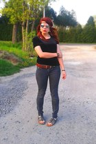 black blouse - charcoal gray pants - brown belt