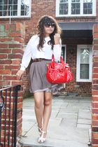 white vintage blouse - brown Forever 21 skirt - white thrifted shoes - red Nine