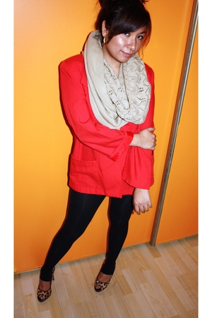 red vintage blazer - black Express stockings - Steve Madden shoes - Urban Outfit