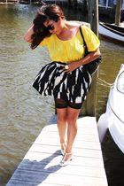 gold Forever21 blouse - black Forever21 skirt - white Forever 21 shoes