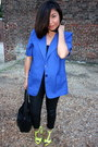 Blue-vintage-blazer-black-leather-south-moon-under-pants