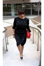 black vintage dress - black Forever 21 shoes - Nine West purse