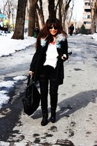 white American Apparel shirt - gray Forever 21 coat - black Forever 21 jeans - b