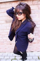 blue vintage blazer - Forever 21 shirt - black Express stockings - Forever 21 sh