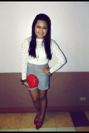 navy shorts - red shoes - ivory lace top blouse