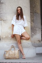 light pink Mango sandals - beige bag - white H&M romper - mustard gold bracelet