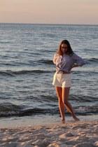 sky blue striped JCL Paris shirt - white lace up Bershka shorts