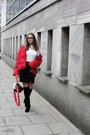 Black-ccc-boots-red-zara-jacket-red-crossbody-zaful-bag