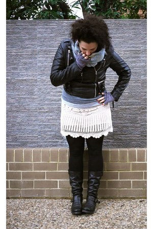 crochet SES skirt - leather Fryes boots - leather ms selfridge jacket