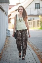 dark brown Reporter pants - lime green troll blouse - black Diverse sandals