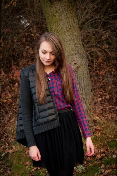 black top secret jacket - red bershka shirt - black top secret skirt