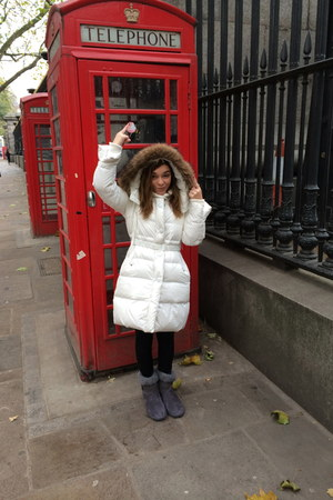 white coat - heather gray Primark boots - black H&M leggings