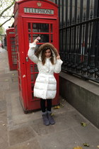 white coat - heather gray Primark boots - black H&M leggings