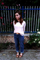 blue high waisted Target jeans - light pink H&M blouse - burnt orange Zara flats