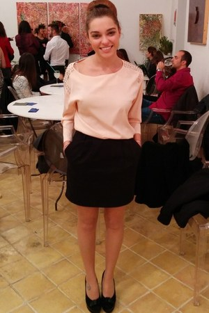 light pink chiffon H&M blouse - black Bata heels - black cotton Topshop skirt