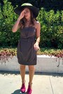 Light-brown-bow-atmosphere-dress-dark-khaki-vintage-from-ebay-hat