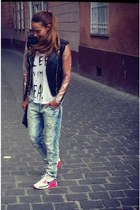 ragged priest jacket - Zara jeans - Religion top - nike air max sneakers