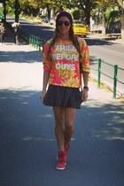 Sick hat - ray-ban sunglasses - ASH wedges - glamourous skirt - asos blouse