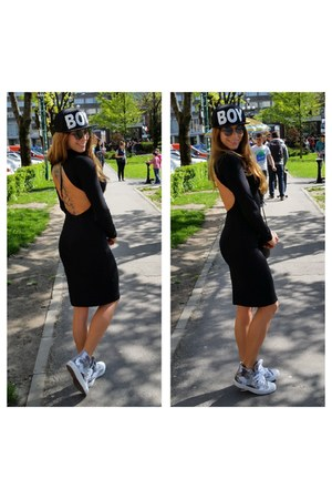 black asos dress - black Boy hat - silver Converse sneakers