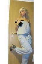 heather gray Zara heels - periwinkle satin jumpsuit Zara jumper - gold New Yorke