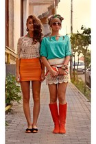 orange raus purse - burnt orange raus boots - turquoise blue raus shirt