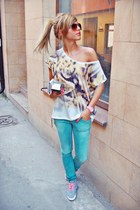 gold loose Stradivarius shirt - chartreuse Zara jeans