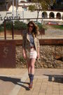 Beige-zara-topshop-skirt-gray-american-apparel-shirt-brown-ysl-shoes