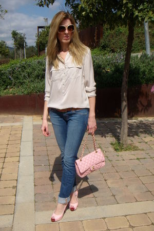 beige Zara blouse - pink Christian Louboutin shoes - pink Chanel 255 accessories